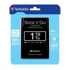 "Жесткий диск HDD Verbatim Store 'n' Go USB 3.0 1 ТБ  2,5"" USB 3.0 Black #53023"